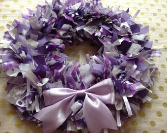 Beautiful rag wreath lilac purple white shabby chic
