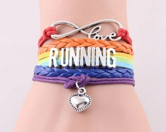 Runners Bracelet, Infinity Love RUNNING Custom Leather Rainbow Charm Bracelet, perfect gift for guys and girls