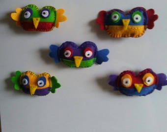 felt owl magnet set
