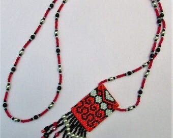 """Amulet"" woven beaded charm necklace"