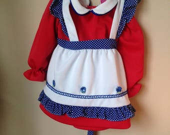Vtg 1960s 1970s Girl's Polyester Dress with Peter Pan Collar and Apron - Dandee Girl - Vintage Dress