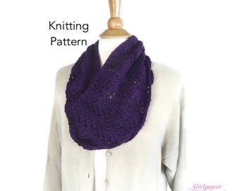 Fern Lace Cowl Knitting Pattern, Quick Easy Lace, Worsted Yarn, Vanna's Choice, Lacy Scarf Pattern
