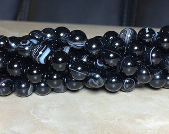 8mm Black Striped Agate Gemstone Round 8mm Loose Beads 15.5 inch Full Strand, Black Agate, Natural Black Striped Agate