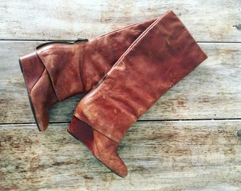 Vintage 70's size 6 tan brown knee high leather boots with wedge heel geniuine US from Austin Texas