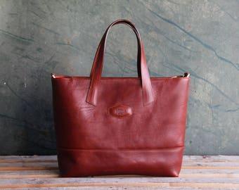 Designer Handmade Italian Genuine Leather Womens Bag Tote Handbag / Shoulder Bag Cognac