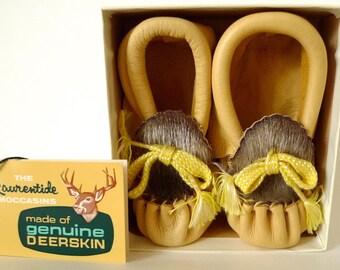 Nos Tags! Box! Vintage LAURENTIDE Genuine DEERSKIN Leather Baby Boots MOCCASINS
