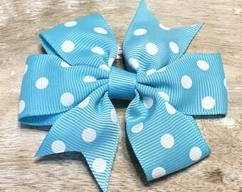 Ocean Blue and White Polka Dot Grosgrain Ribbon Bow, Alligator Clip, Barrette, 3 inches wide, Hair bow, Girls