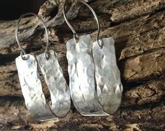 Hammered Silver Hoop Earring