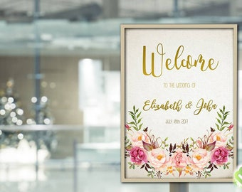 Romantic Floral Wedding Welcome Sign Printable Wedding Welcome Sign Boho Chic Wedding Welcome Bohemian Peony Sign Reception Welcome Sign