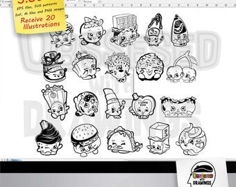 Shopkins svg patterns, editable files: EPS, DXF, Ai and receive PNG images, 20 differents models to create your projects