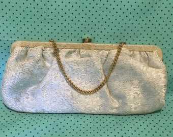 Vintage 1950's silver brocade fabric evening bag with gold hardware
