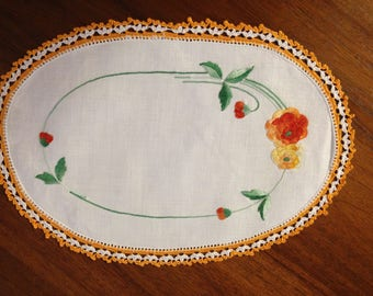 Vintage hand-embroidered doily yellow and orange flowers and buds, 28 x 19 cm
