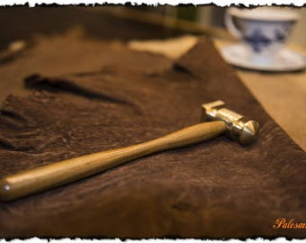 Brass hammer made of lignum vitae handle
