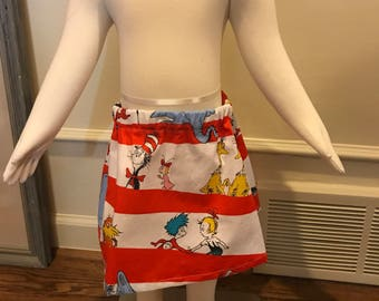 Girls Dr Seuss skirt size 2. It is on a size 1 mannequin