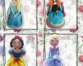 Disney princess sculpture, Cake topper in polymer clay. Frozen/Snow White/Cinderella/Brave/Tangled/sleeping beauty/Beauty and the beast