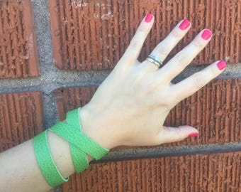 The Kelly Green Leather Wrap