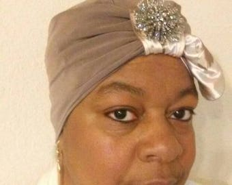 Silky feather reversible turban
