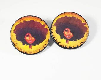 Golden Sistah earrings. African print. Wood earrings. Ethnic jewelry. Natural. Afrocentric. Stud Earrings. Studs. Natural hair. Gold