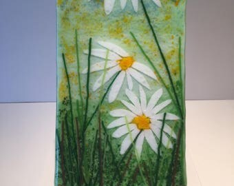 Daisies- Fused Glass Panel