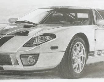 2005 Ford GT Pencil Drawing