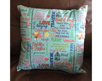 Grandma Words of Affection Throw Pillow