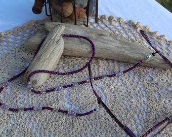 Purple Eye Glasses Lanyard, Eye Glass Holder, Beaded Eye Glass Necklace, Handmade