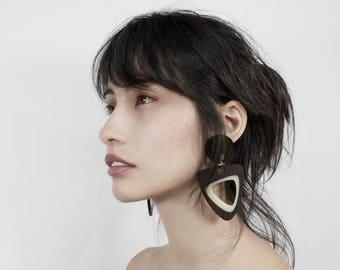 Wenge Hardwood and Milky White Earrings
