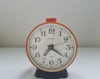 Alarm Clock Jantar Vintage Soviet Mechanical Alarm Clock USSR Desk Clock Vintage Russian Vintage Soviet Union Clock Antique Clock 80s