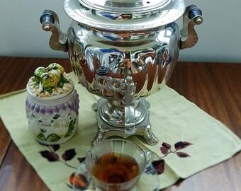 Soviet Russian Samovar - Electric Metal Tea Pot - Working - Nickel Plated Brass 1980s - from Russia - Soviet Union - USSR.