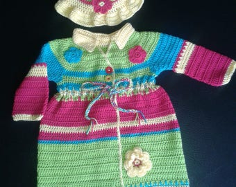 Toddler,Rainbow,crochet, bonnet,hat,handmade,quality,designer,coat, children, child, girl,