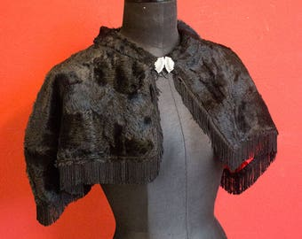 Original Vintage 40's Black CAPE fur and fringes