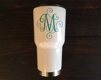 YETI Monogram Decal, YETI Decal for Women, Scroll Monogram for Yeti, Cup Decal, Vinyl Cup Decal, Custom Vinyl Stickers, Yeti Rambler Decal
