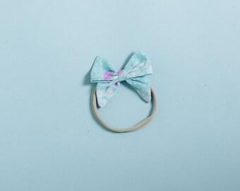 baby nylon headband, stretchy newborn bow, toddler bow headband, sailor bow, blue and white floral
