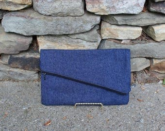 Slanted Denim Clutch