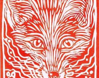 Red Fox - Linocut Original Print