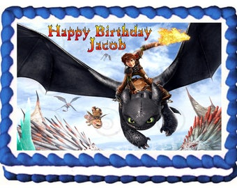 HOW to TRAIN your DRAGON Image edible cake topper party