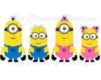 Minion collection, mninon girl, despicable me SVG (layered), PNG, DXF, Cricut, silhouette cameo, vinyl decal, t shirt design, birthday theme