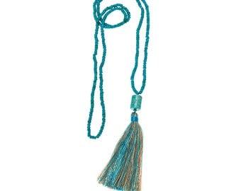 Aqua Tassle Necklace