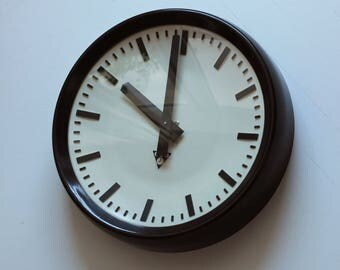 Vintage industrial wall clock from 60s/70s made in Czechoslovakia, refurbished AA battery, original coating