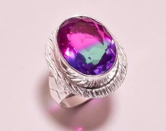 Bi-color quartz gemstone plated silver ring 7.5