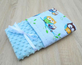 Minky Baby Blanket Newborn Blanket Blue Baby Blanket Personalized  Boy Blanket Newborn gift Double-sided blanket