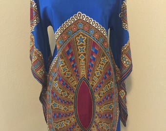 Vintage African Bell Sleeve Boho Dress
