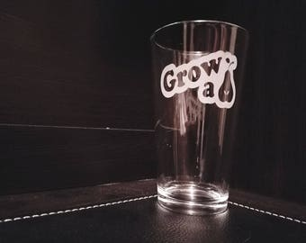 """Etched Pint Glasses. """"Grow a Pear."""""""