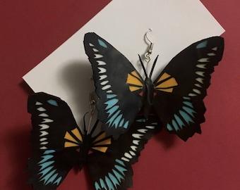Blue Swallowtail Butterfly Cut Paper Earrings, Large, Handmade, Dangle/Drop, Black, White Yellow