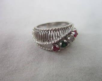 Vintage Designer Beautiful 14 K Solid White Gold Birthstone Ring