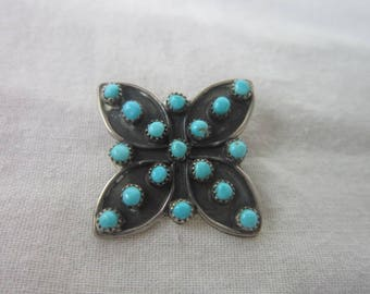 Vintage Native American Sterling Silver & Turquoise Retro Brooch