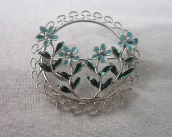 vintage Designer Beau Sterling Silver & Enameled Flower Circle Brooch