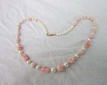 Vintage Pink Art Glass & Faux Pearl Fancy Necklace