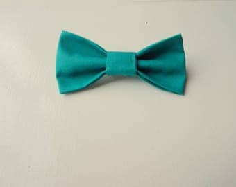 Teal Baby Bow Tie with Safety Bar Clip