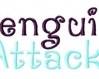 Penguin Attack Machine Embroidery Font Set Includes 1 2 & 3 Inch Sizes in Upper Lowercase Numbers and Bonus Punctuation
